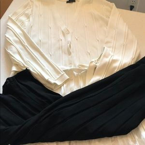 Grace Dane Lewis ivory too with black skirt